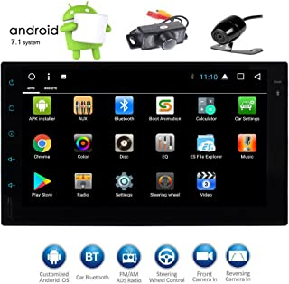 EinCar 7 Inch HD Touch Screen Double Din Android 7.1 Car Stereo GPS Navigation Octa Core Car Entertainment Multimedia w/FM Radio WiFi Bluetooth & Free MAP & Front/Backup Camera