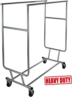 Only Garment Racks Commercial Grade Double Rail Rolling Clothing Rack, Heavy Duty - Designed with Solid