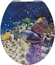 WENKO Wc-bril Fish, toiletbril met softclosemechanisme en 3D-motief, wc-deksel voor zachte dekselsluiting met roestvrije h...