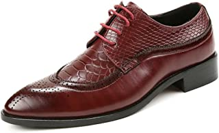 Men's Shoes-Men's Oxfords Pointed Toe Flat Heel Soft PU Leather Lace Up Business Casual Shoes (Color : Red, Size : 38EU)