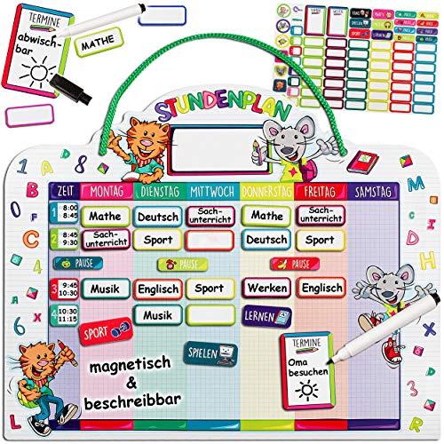 alles-meine.de GmbH Stundenplan - magnetisch + abwischbar - Wisch & Weg - Wochenplaner / Memoboard - lustige Maus & Katze - mit Folienstift - incl. 75 Stück Magnettafeln zum Besc..