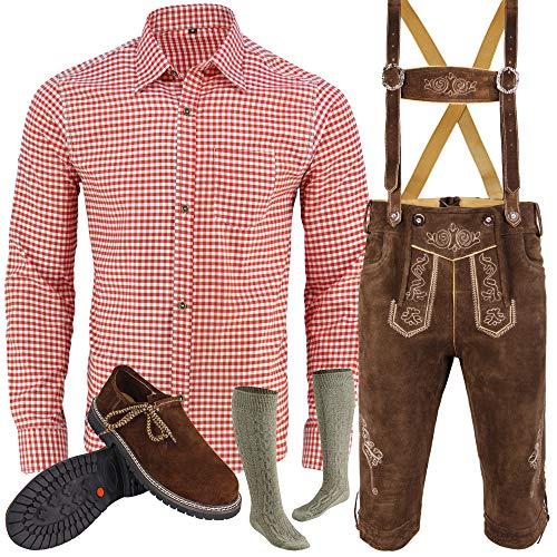 Herren Trachten Lederhose Inkl. Hosen Träger Größe 46-62 Trachten Set Hose,Hemd,Schuhe,Socken Neu (52)