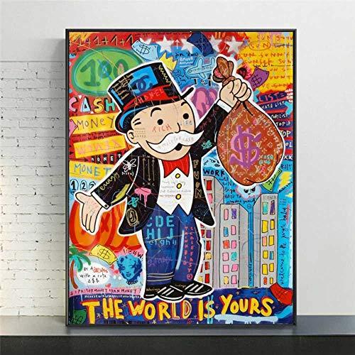 Lienzo de impresión 60x80cm Sin marco Graffiti Art Alec Monopoly Home Decor