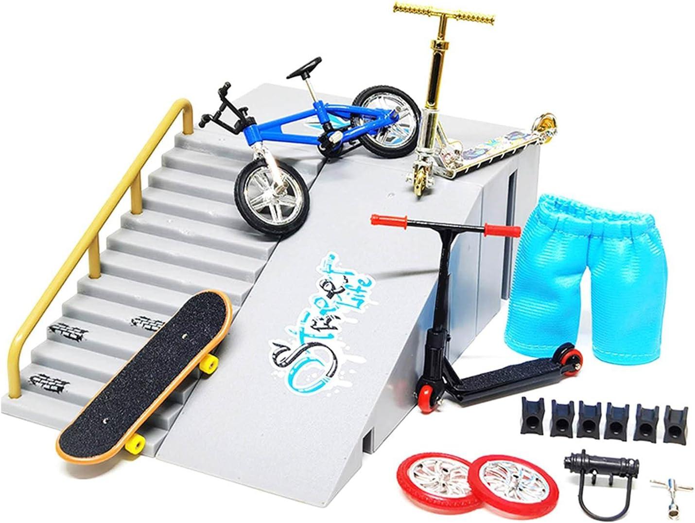 bluesa Finger Scooter De Dedos Juguete De Dedo, Mini Finger Scooter Rampa Tech - Deck Patineta De Dedos, Tabla Scooter para Los Dedos Casa Mini Skateboard Juguete Conjunto, Bicicleta De Dedo Azul 1