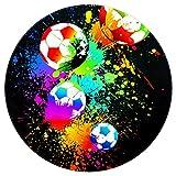 Bennigiry Fußball-Teppich, rund, modern, Memory-Schaum, rutschfest, waschbar, Wohnzimmer, Schlafzimmer, Teppich für Kinder, Spielzimmer, Spielzimmer, Kinderzimmer, 120 cm, Multi, 4ft-120cm