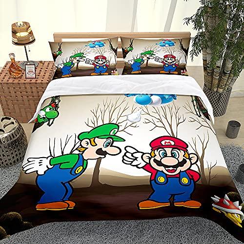XCMMK Copripiumino 3D Fratelli Super Mario Set copripiumino e federa per letto singolo, matrimoniale, king e king size,1 copripiumino(260cm x 240cm)+ 2 federe(50cm x 91cm)