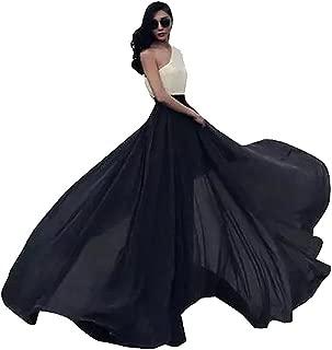 Women's Summer Chiffon Mopping Floor Length Big Hem Solid Beach Maxi Skirt