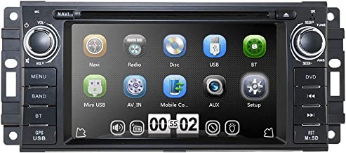 """Hizpo Car Stereo GPS DVD Player for Dodge Ram Challenger Jeep Wrangler JK Head Unit Single Din 6.2"""" Touch Screen Indash Radio Receiver with Navigation Bluetooth"""