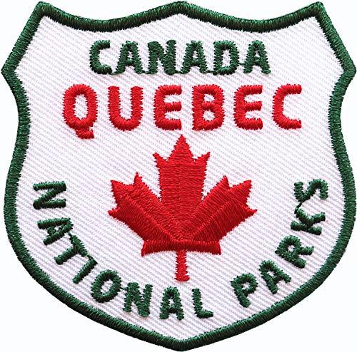 2 x Kanada Quebec Abzeichen gestickt 60 mm / Canada Nationalpark Ahorn Fahne Flagge Flagg Outdoor Reise Camping / Applikation Aufnäher Aufbügler Flicken Sticker Patch Reiseführer Karte Bügelbild