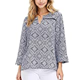 Fever Ladies' 3/4 Sleeve Textured Blouse (Blue Mosaic, M)