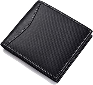 Carbon Fiber Leather Mens RFID Flip Wallet ID Credit Card