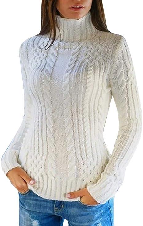 Mujer Suéter Corto de Cuello Alto Costura Color De Contraste ...