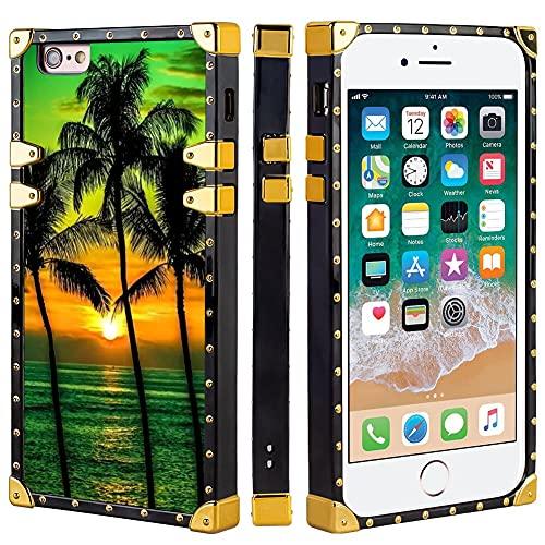 Naikuyi Funda para teléfono con iPhone 6 Plus iPhone 6S Plus – Funda cuadrada Palmeras de lujo TPU funda de teléfono con cuatro esquinas Protección de búfer fuerte pero no pesado