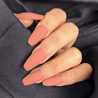 Handcess Coffin Matte Unghie finte Medium Orange Ballerina Press on Nails Colore puro Copertura completa Unghie finte Stic...