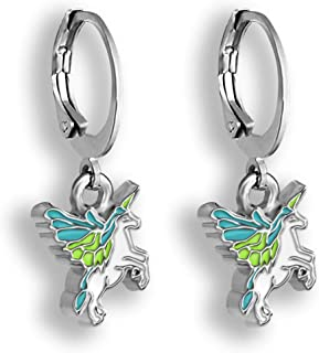Flying Unicorn Earrings in Pink or Blue Pegasus Hoop Earrings OR BONUS SET of Bee Earrings Studs Plus Blue Unicorn Hoops OR Blue Butterfly Earrings PLUS Pink Unicorn Hoops