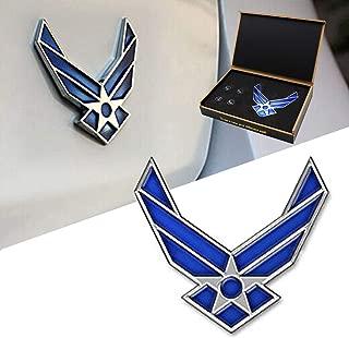 Dsycar 3D Metal Blue Wing US Air Force Premium Car Body Side Fender Rear Trunk Emblem Badge - Gift 4 Free Air Force Logo Tire Valve Stem Caps