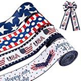 Yingzhao 4 Rolls Patriotic Wired Edge Ribbon, 2.5 Inches x 10 Yards Each Roll Star and Stripe Ribbons for 4th of July, President's Day, Independence Day, Memorial Day Decor