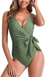 Women's Deep Plunge One Piece Swimsuits Bowknot Wrap Ruched Bathing Suits