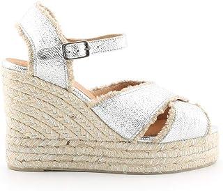 Luxury Fashion   Castaner Women BROMELIA8EDARGEN Silver Fabric Wedges   Season Permanent