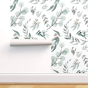 Spoonflower Peel And Stick Removable Wallpaper Eucalyptus Native Australian Natives Botanical Nature Eucalyptus Print Self Adhesive Wallpaper 12in X 24in Test Swatch Amazon Com