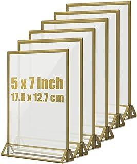 TOROTON T-Forme Présentoir, Golden Sided Acrylique Transparent Double D'annonce Affichage, Support pour Menus, pour Fête d...