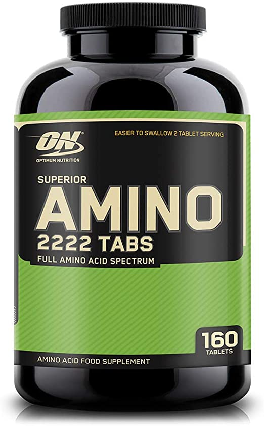 Optimum Nutrition Superior Amino 2222, Aminoácidos Esenciales y Ramificados, BCAA, Sin Sabor, 160 Porciones, 320 Capsulas