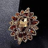 Broche JXtong2 para dama antigua, diseño de flor dorada, color marrón, con diamantes de imitación, 7, 2 x 5 ,7 cm