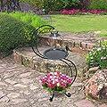 GardenKraft 10009 Solar Lit Bird Bath With Planter | Decorative Garden Feature | Verdigris Effect Green Metal | Rechargeable Lights | 90cm x 45cm by Benross Marketing