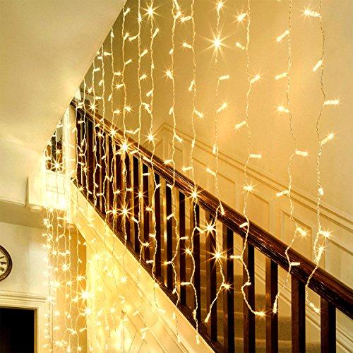 Lighting EVER LED Lichterkettenvorhang, 8 Modi 3m x 6m 594 LEDs Lichterkette, IP44 Sternen Lichterketten, Warmweiß, Lichtervorhang für Weihnachten, Partydekoration, Innenbeleuchtung