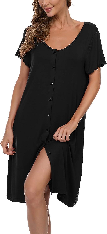 JINKESI Womens Nightgown Genuine Short sold out Sleeve Sleep Nightshirt Do Button