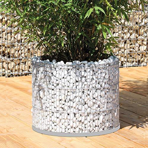 bellissa Gabionen-Blumentopf rund - 95863 - als Mini-Teich nutzbarer Pflanzkübel mit geschlossenem Folien-Einsatz - Durchmesser 40 cm, Höhe 30 cm
