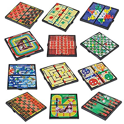 """Gamie Magnetic Board Game Set Includes 12 Retro Fun Games - 5"""" Compact Design - Individually Boxed - Teaches Strategy & Focus - Great for Road Trip/ Travel/ Camping - Best Gift for Kids Ages 6+"""