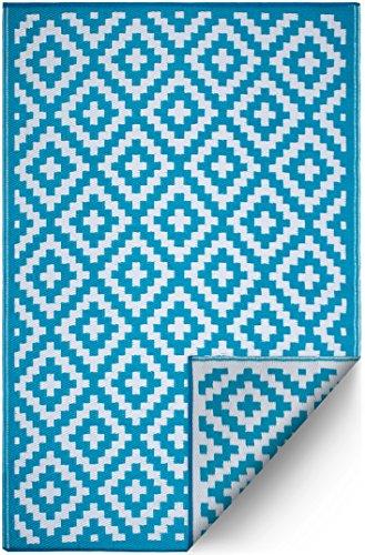 FH Home Tapis de Sol en Plastique recyclé pour intérieur/extérieur – Réversible – Résistant aux intempéries et aux UV - Aztec - Teal/White (120 cm x 180 cm)