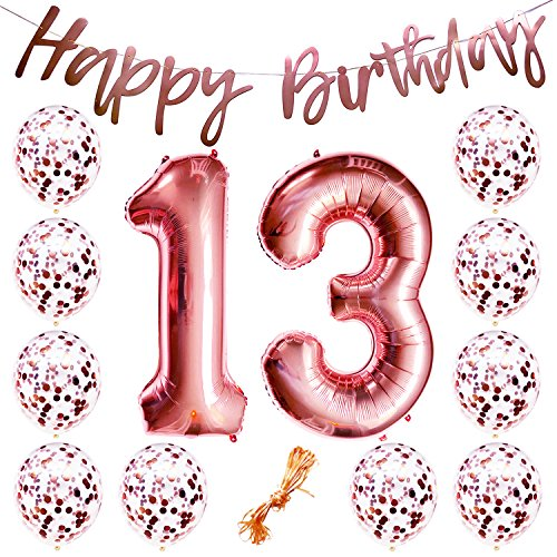 13th Birthday Party Decorations Rose Gold Decor Strung Banner (Happy Birthday) & 12PC Helium Balloons w/Ribbon [Huge Numbers
