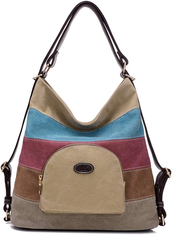 WeeLion Gestreifte Tragetasche für Damen - mehrfarbige gestickte Nähte aus Canvas Umhängetasche Geldbörse Handtasche Umhängetasche B07QFWCWBM  Moderne und stilvolle Mode