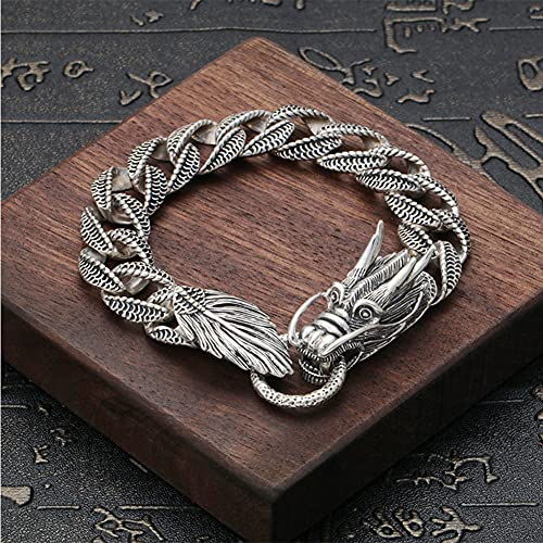 Feinny Pulsera de Plata de Ley 925 con Forma Dragón Chino, Hombres 52g Heavy Vintage Hecho a Mano Quilla Cadena Acera Brazalete, Norse Viking Serpents Ouroboros Amulet Jewelry