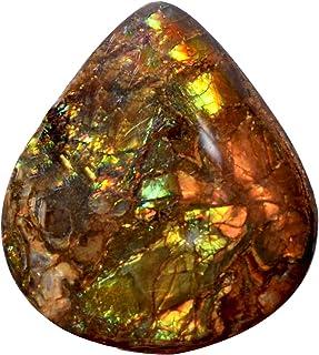 Ravishing Impressions Jewellery Ammolite Cabochon, Ammolita de fuego amarillo natural, tamaño 32 x 28 x 6 mm, parte traser...