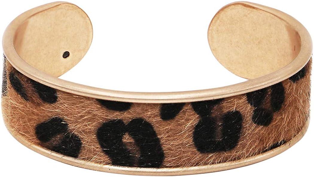 Rosemarie & Jubalee Women's Get Wild Animal Safari Faux Leather Cow Hide with Hair Leopard Spot Open Cuff Bracelet, 2.75