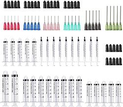 BSTEAN 30 Pack - 1ml, 3ml, 5ml,10ml, 20ml Syringes with 14ga, 16ga,18ga, 20ga, 22ga and 25ga Blunt Tip Needles and Caps for Refilling and Measuring Liquids, Vape, Oil or Glue Applicator