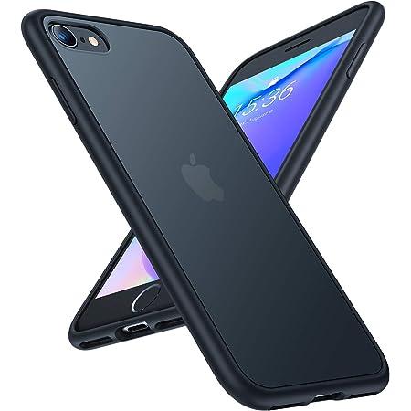 TORRAS iPhone SE用 7用 8 用ケース 半透明 耐衝撃 米軍MIL規格 マット感 SGS認証 黄ばみなし レンズ保護 ストラップホール付き 高級感4.7インチ アイフォン SE 7 8用カバー(ブラック)