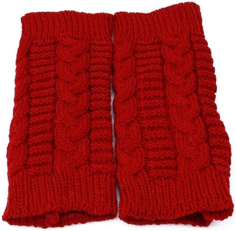 FASGION Knitted Long Hand Gloves Women's Warm Embroidered Winter Gloves Fingerless Gloves for Women Girl Winter Woman Gloves (Color : Claret)