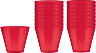 Red Hard Plastic Reusable Opaque 9 oz Party Gl Tumblers 40 Count per Order