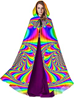 Unisex Hooded Cloak Psychedelic LSD Picture Acid Trip Medieval Cape Robe for Halloween Christmas Cosplay Party Costume Supplies