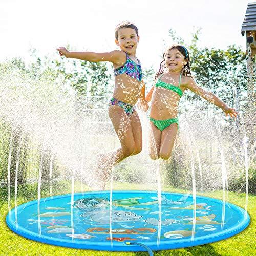 Molbory 170CM Splash Pad, Sprinkler Wasser-Spielmatte, Splash Play Matte, Outdoor Sommer Garten Wasserspielzeug für Kinder, für Outdoor Familie Aktivitäten/Party/Strand/Garten/Kinder/Haustier