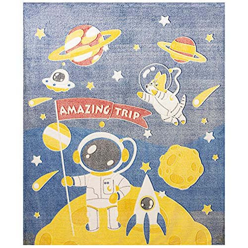 Pinkpum Glow in The Dark Throw Blanket for Kids 50 x 60 Inches Cute Astronaut Blanket for Boys and Girls