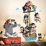 R00383 Adhesivos Pared Monos Piratas Decoración Pegatina Dormitorio infantil Niño