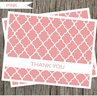 Pink Moroccans Thank You Cards - 25 Bulk Pack Thank You Notes with Envelopes and Sealed Stickers, All Occasions Greeting Cards for Wedding, Baby Shower, Bridal Shower, Business and More