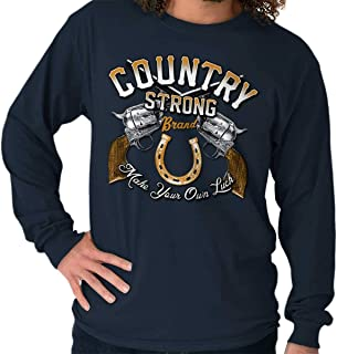 Brisco Brands Country Strong Make Your Own Luck Revolver Men`s Long Sleeve T Shirt Navy