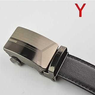 elegantstunning Men Advanced Automatic Buckle Casual Leather Belt Flat High Strength Belt