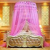 Yenisai Moskitonetz Doppelbett Einzelbett inkl Montagematerial Groß Mückennetz, Spitze Elegant für Schlafzimmer, Camping oder geben Sie es an Freunde und Familie-Rosa